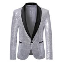 e41659ca6b5 Mens Châle Revers Blazer 2019 Mode Sliver Sequin Suit Veste Hommes Punk DJ  Club Stade Chanteur Vêtements Costume De Mariage De Partie pour hommes