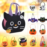 Wholesale candy gifts diy resale online - Kids Halloween Candy Bags Child DIY Pumpkin Candy Handbags Halloween Witch Bat Candy Storage Buckets Party Decor Gift TTA1550