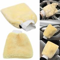 gants de nettoyage jaune achat en gros de-Microfibre Jaune En Peluche Voiture Détaillant Doux Lavage Moufle Gant De Lavage Outils De Nettoyage De Nettoyage De Voiture Vente Chaude