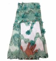 perlen blumen materialien großhandel-Gehobene Artkorne Spitze-Gewebe 3D Blume gestickte Guipure-Nettospitze-afrikanische Brautkleider, die Ineinander greifen-Material-Rosa-Grün nähen