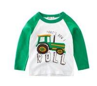 araba uzun kollu toptan satış-Ins toptan dijital hayvan araba uzun kollu tişört kız klasik beyaz klasik ilkbahar / sonbahar bebek gömlek