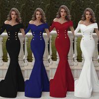 sexy vestidos de noche patrones al por mayor-señora del color puro del vestido de noche doble patrón de pecho simplicidad atractiva del hombro falda de cola de pescado de alta calidad