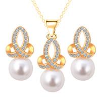collar indio de la boda de la perla del oro al por mayor-Conjunto de joyas de dama de honor Perla de boda Colgante Collar Pendientes Conjuntos de joyas de fiesta Como Dubai 18 k Oro Conjuntos de joyas de África India