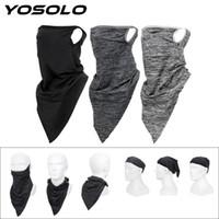Wholesale breathable half face mask resale online - YOSOLO Triangle Dustproof Headband Anti UV Cycling Face Mask Sport Scarf Viscose Fiber Breathable Half Face Mask