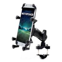cep telefonu tutacağı kolu toptan satış-MOTOPOWER MP0619 Bisiklet Motosiklet Cep Telefonu araç Tutucu-Herhangi Bir Akıllı telefon için GPS-Evrensel Dağ Yolu Bisiklet Motosiklet Gidon
