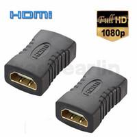 hdmi tv anschluss groihandel-HDMI Koppler Universal Vergoldet V1.4 TYP A Extender HDMI Buchse auf Buchse Adapter F F Tischler Konverter Anschluss Adapter HD für HDTV TV