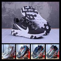 rosa fuerte relojes mujeres al por mayor-[Con reloj deportivo]Designer shoes men women Nike AIR MAX Hot React Element 87 55 Zapatillas de correr encubiertas para hombres Mujeres Royal Tint Sail VOLT RACER PINK Zapatillas