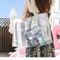 Wholesale beach transparent clothes resale online - PVC Waterproof Transparent Swimming Shoulder Storage Bag For Beach Outdoor Travel Clothes Luggage Organizer Storage Bags