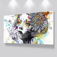Wholesale bedroom wall art for girls resale online - Beautiful Flower Girl Painting Canvas Wall Art Posters Print Pictures For Bedroom Home Decoration No Frame Discount Dropshiping