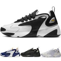 самые новые стили обуви оптовых-Новейшие Zoom 2K Мужские Спортивные Кроссовки Белый Черный Синий ZM 2000 90-х годов Стиль Тренер Дизайнер Уличные Кроссовки M2K Удобные Причинные Туфли