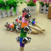 Wholesale baby wooden rattle toys for sale - Group buy DHL Baby Rainbow Toy kid Pram Crib Handle Wooden Activity Bell Stick Shaker Rattle