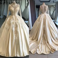 Wholesale adorn wedding dress for sale - Group buy Luxurious High Neck Long Sleeves Lace Appliques Wedding Dresses Feather Adorned Beaded Bridal Gowns Formal Vestidos De Marriage Custom