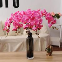 orquideas rosas artificiales al por mayor-Nuevo diseño Real Touch Orchid Flower Fake Green / Pink Cymbidium Latex Orchids Phalaenopsis para el banquete de boda Flores decorativas artificiales
