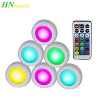 sensor de luz led inalámbrico al por mayor-HaoXin Wireless LED Puck Lights RGB 12 colores Sensor táctil regulable led bajo luz del gabinete para armario cercano Escalera Pasillo Lámpara de noche
