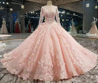 Wholesale blue flowers photos for sale - Luxury Pink New Ball Gown Quinceanera Dresses Long Sleeves Lace Appliqued Petal Powers Flowers Evening Prom Gowns Custom Made Formal Gowns