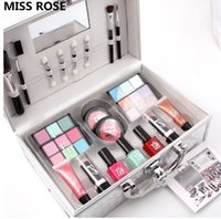 Wholesale miss nails for sale - MISS ROSE sets matte shimmer eyeshadow makeup set of colors nail polish glue lipgloss blush with aluminum makeup case