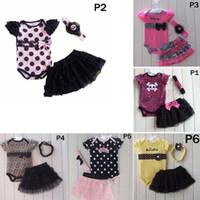 leopar bebek tutu etek takımları toptan satış-6 Stilleri Bebek Çocuk 3 adet Giyim Romper + Tutu Etek + kafa Seti Moda Leopar Nokta Kafatası Dantel Tutu Kıyafetler Çocuk Romper C