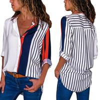 mujer hermosa blusas blancas al por mayor-Camisa de las mujeres blusas bloque del color de rayas elegante casual de oficina Señora de la blusa de manga larga botón de tapas de la camisa Chemise