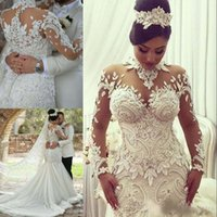 long perlé achat en gros de-Dubaï robes de mariée sirène col haut robes de mariée pure manches longues dentelle perlée robe de mariée robe sexy tulle robe de mariée longue