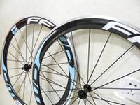 rodas clincher azul venda por atacado-Azul FFWD rodas 50 milímetros de carbono de liga de alumínio freio Clincher As rodas da bicicleta + pólos + raios + mamilos + espetos estrada rodado