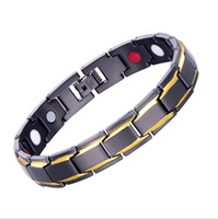 Wholesale magnetic health care bracelet resale online - Men Women Titanium Steel Magnetic Therapy Bracelets for Arthritis Health Wristband Health Care Jewelry Silver Gold Tone