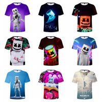 ingrosso dj t-Magliette DJ Marshmello Tees Maglietta a maniche corte stampata in 3D digitale Top Maglietta a cartoni animati Bambini Abiti firmati 10 colori RRA1726