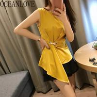 kore bayanlar şifon gömlek toptan satış-OCEANLOVE Katı Ofis Bayan Gömlek Düzensiz Kolsuz Şifon Bluzlar 2019 Yaz Boncuk Giyim Kore Kadınlar 11685 Tops