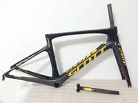 ingrosso cornice gialla bicicletta-Telaio in carbonio giallo telaio bici da strada telaio bici full carbon telaio bici da strada PF30 47/49/52/54/56 cm