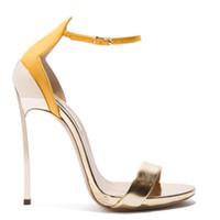 zapatos de trabajo para mujer tacones al por mayor-Mujeres famosas de punta abierta sandalias hechas a mano de moda tacón de aguja correa del tobillo del verano brillante de las señoras zapatos de fiesta trabajo de oficina vestido sandalia