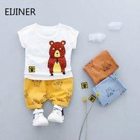 bebek ayı kıyafetleri toptan satış-Karikatür Ayı Bebek Erkek Giysileri Set Yaz 2019 Yeni Çocuk Giysileri Erkek Giyim Seti Pamuk Yürüyor Suit Baskı Çocuk