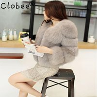 ingrosso pelliccia di volpe grigia calda-Nuovo 2019 Faux Fur Jacket Fur Coat Inverno Warm Grey Donna Black Fox Fox Overcoat Warm Outwear Women Coat Large Size