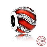 silberne aqua halskette großhandel-Rot und blau authentische echte 925 Sterling Silber Charm mit Original Logo passen Pandora Schlangenkette Armband Armreif Schmuck DIY Perlen machen