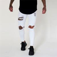 ingrosso nuovo arrivo del pantalone jeans-Jeans uomo buco a vita bassa Jeans nuovi a maniche lunghe jeans lavati primavera primavera pantaloni skinny casual da uomo