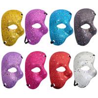 ingrosso metà maschera fantasma-New Half Face Maschera per gli occhi Palla di polvere d'oro Maschera di carnevale di Halloween Party Masquerade Opera Phantom Dance Bar puntelli di plastica Performance