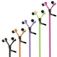 ingrosso auricolari a basso jack-Commercio all'ingrosso Zipper cuffie auricolari auricolare 3.5mm Jack Bass auricolari In-Ear Zip cuffia auricolare con microfono per Samsung S6 HTC