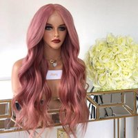 Wholesale black long wavy human hair for sale - Group buy Rose Pink Body Wave Full Lace Human Hair Wigs for Black Women Wavy x6 Lace Front Human Hair Wigs with Baby density