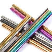 goldfarbener rostfreier stahl großhandel-267mm Farbige strukturierte Edelstahlhalme Regenbogen Gold Blau Schwarz Silber Wiederverwendbarer Trinkhalm mit Muster Verbogen Gerade Metallstroh