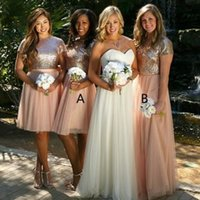cbc8755e94 Golden Pink Sequins Long Bridesmaid Dresses Jewel Neck Knee Length Tulle  Maid of Honor Dresses Free Size Custom Made