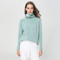 Wholesale angora pullover sweater resale online - Pop2019 High Lead Woman Thickening Angora Knitting Pattern European Easy Ins Suit dress Sweater Tide