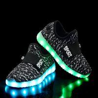 sapatilhas coloridas para meninas venda por atacado-Crianças sapatilhas crianças usb carregamento colorido luzes led shoes meninos meninas tecido voador luminosa tênis respirável sneakers