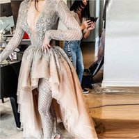 Wholesale 2'piece prom dresses for sale - Group buy 2020 New Chic Fashion Champagne Lace High Low Prom Dresses Full Sleeves Appliques Beaded Long Pieces Prom Gowns