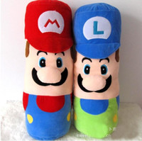 anime sıcak yastık toptan satış-Bebek İyi Hediyeler İçin Sıcak Satış 2 Stil 50cm Mario Luigi yastık Super Mario Bros Peluş Bebek Dolması Oyuncaklar