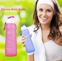 botellas de plástico plegables al por mayor-500 ML Creativo Plegable Botellas de Agua de Silicona Bebida Deporte Botella de agua taza Ciclismo Portátil de Viaje Bicicleta de Plástico de Viaje 4874