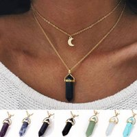 Wholesale women layered necklaces resale online - 2019 HOT Natural stone Moon Pendant layered necklace crystal quartz Bullet Hexagonal prism Point Healing charm Gold chains For women