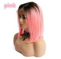 brezilya düz saç rengi toptan satış-Kadınlar Yüksek Kaliteli% 100 İnsan Saç Peruk 5 Renk Dantel Açık Saç Düz BOBO Brezilyalı Saç İsviçre Dantel Cap Moda için Yeni Ücretsiz Kargo