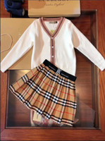 Wholesale mini girl suit for sale - Group buy Children s brand wool shirt boy girl designer sweater shirt fashion casual hoodie autumn new sweater skirt suit