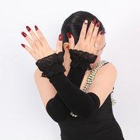 ingrosso guanti a gomito caldi-I più nuovi guanti Donna Autunno Inverno Pizzo Manicotti Fingerless Lunghi Warm Mittens Elbow discussione lavorato a maglia maniche a guanto
