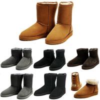 bota curta marrom venda por atacado-BOOTS Botas de neve do inverno Austrália Clássico boa moda WGG botas altas de couro real Bailey bowknot mulheres bailey bow Knee Boots mens sapato