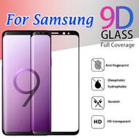 galaxy s6 3d vidrio templado completo al por mayor-Protector de pantalla de cobertura total de vidrio templado curvo 3D Flim para Samsung Galaxy S10 E S9 Plus S8 S7 S6 Edge S6 Nota 9 8 Huawei P30 Mate 20 Pro