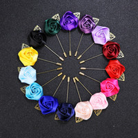 Wholesale accessories ruby stone resale online - 33 colors Luxury Fabric Rose Flower Lapel Pin Mens Uniform coat clothes badge Broaches For women Wedding party Fashion Jewelry Accessories